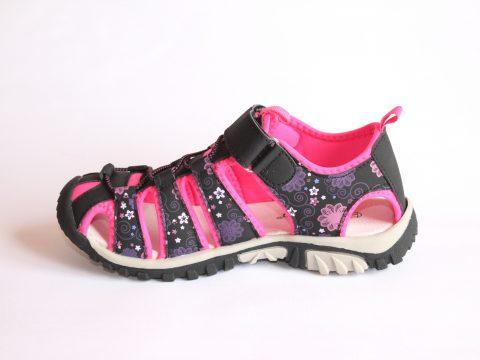 Sandalia mujer trekking rosa y negra.